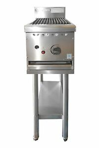 COMMERCIAL CATERWARE S/S GAS 300mm CHARGRILL ON STAND (LPG OR NATURAL)