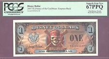 2007 $1 FE Disney Dollars PIRATES EMPRESS BACK PCGS 67 PPQ SUPERB GEM NEW PIXIE