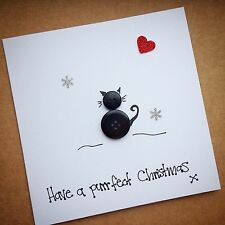 Personalised handmade Merry Christmas Button cat Xmas card From The Cat