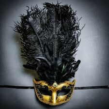 Venetian Gold Black Masquerade Mask Show Girl Ostrich Feather Eye Mask Costume