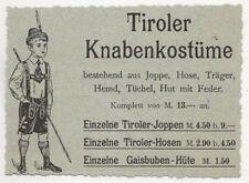 29/747 WERBUNG AUS EINER ZEITSCHRIFT - TIROLER KNABENKOSTÜME - LEDERHOSE
