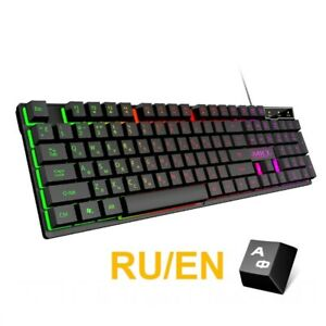 Gaming Keyboard Usb Wired Cable Waterproof Backlit 104 Russian Keycaps Keypads