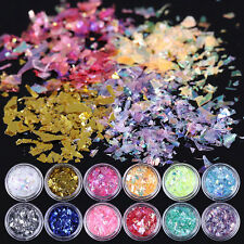 Nail Art Iced Mylar Glitter Paper Acrylic UV Gel Tips Decoration 12Colors/Set