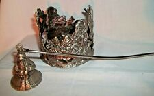 Pewter Colored Candle Holder & Snuffer Christmas Santa Reindeer Sleigh Presents