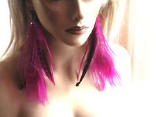 """Long Pink Peacock Feather Earrings Shoulder Duster Chains feathered 8"""""""