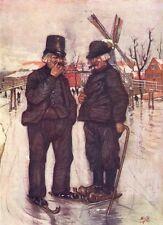 NETHERLANDS. Drenthe. Old Dutchmen on skates 1904 antique print picture