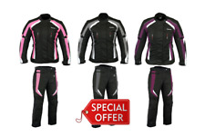 RKSports Motorbike Waterproof Ladies Colored Combo Textile Jacket + Trousers CE