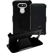 Echt-Lederhülle für LG G5 Leder-Case schwarz + Glasfolie