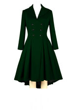 Chic Star Cotton Retro Double Breasted Fully Lined Flared Jacket Coat UK 6 to 28 24 Green