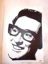Marcador de tinta negra A4 Pluma de Dibujo músico Buddy Holly