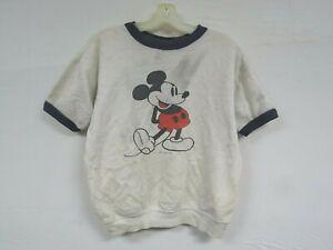 Vintage 60s 70s Short Sleeve Sweatshirt MICKEY MOUSE Walt Disney Ringer Navy