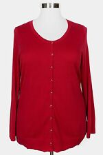 CATHERINES RED LONG SLEEVE SNAP BUTTON CARDIGAN SWEATER PLUS Sz 1X 18/20W
