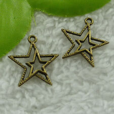 Free Ship 200 pcs bronze plated star charms 23x20mm #2564