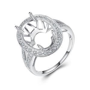 Semi Mount Ring SI-SI3 Diamonds Oval 15x10mm Solid 14K White Gold Fine Jewelry