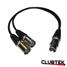 XLR Signal Splitter 0.5m 1 Female 2 Male 3pin Cable Audio Combiner Lead UK
