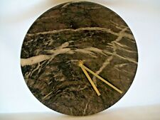 "Threshold Faux Marble Quartz Wall Clock Brass Hands Round 10"" Diameter"