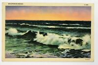 Postcard Greetings From Angola NY Whispering Waves Scenic New York 1940's Linen
