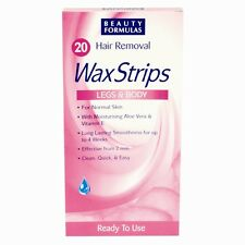 20 Hair Removal Legs & Body Wax Strips For Normal Skin Clean Quick & Easy