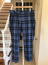 Nwt Nike Golf Tour Performance Dri-Fit Standard Fit Blue Plaid Pants 36 32
