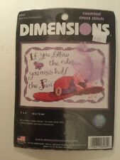 """Dimensions Counted Cross Stitch # 6962 Red Hat Celebration 7"""" x 5"""" NIP"""