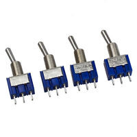 New 4 Pcs Blue  AC 125V 6A 3 Pin SPDT On/Off/On 3 Position Mini Toggle Swit Y3S5