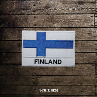 Finland National Flag With Name Embroidered Iron On Sew On Patch Badge