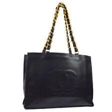 CHANEL CC Jumbo XL Chain Shoulder Tote Bag Purse Black Leather Authentic JT08770