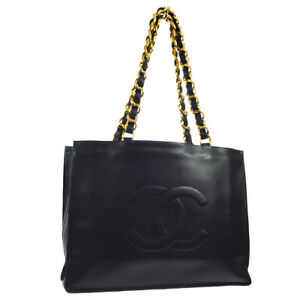 CHANEL CC Jumbo XL Chain Shoulder Tote Bag Purse Black Leather Authentic 02865