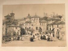Granada Plaza Campillo.George Vivian, litografia original.Londres 1838