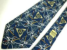 """Hermes Mens Necktie Tie Navy Blue French Horns Canes 596 SA Silk Wide 56"""" Short"""