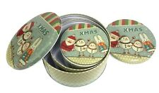 Xmas Christmas Round Triple Tin Boxes Tins Storage Santa Snowman Bunny Set UK