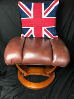 1 Antique Style Reproduction Leather Footstool Antique Tan Brown