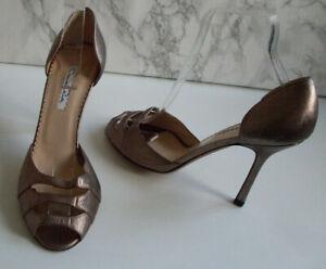 OSCAR DE LA RENTA Designer Gold Pump Heels Sandals Size EU 39 UK 6 US 8