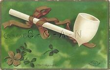 Org Vintage PC- Signed Clapsaddle- Shamrock- Pipe- Saint Patrick's Day- PM 1909