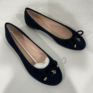 KATE SPADE Willa Velvet Navy Blue Suede Ballet Flats Size 8 Bow Accent Round Toe