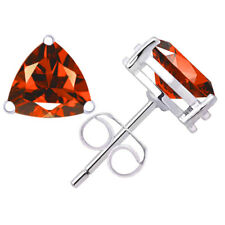 3 ctw Trillion cut Garnet Fine Quality Stud Earrings 925 Sterling Silver