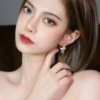 Earrings Jewelry Dangle Stud Fashion Crystal Women Moon Tassel Gifts Drop Gold