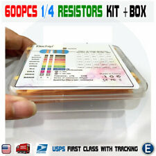 600pcs 30 Values 1/4W Metal Film Resistors  + Plastic Box Assortment Kit Set 1%