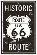 """Route 66 with Bullet Holes 8"""" x 12"""" Metal Sign Nostalgic Retro Embossed Plaque"""