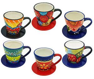 Mediterrane Espressotasse mit Untertasse aus Keramik Espresso handbemalt