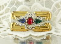 Signed McClellan Barclay Art Deco Gold Silver Rhinestone Brooch Pin