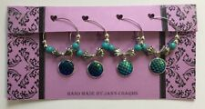Wine Glass Charms - 4 Silvertone Dragon Scale Blue Charms with Beading
