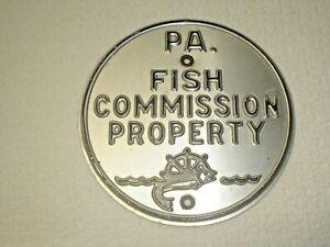 "PENNSYLVANIA FISH COMMISSION PROPERTY SIGN, ALUMINUM  4-7/8"" DIAMETER"