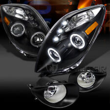 2006-2008 Toyota Yaris Black 2D Halo LED Projector Headlights+Clear Fog Lights