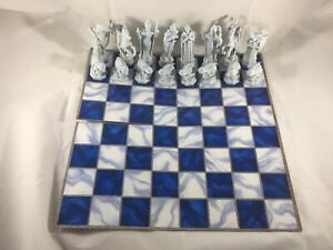 Harry Potter Wizard Chess 16 White Replacement Plastic Pieces & Board Only