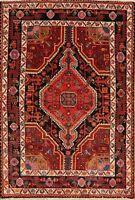Vintage Tribal Hamedan Hand-Knotted Area Rug Oriental Geometric Wool Carpet 4x6