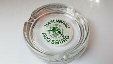 "German Hasenbrau Augsburg Beer 5"" Round Glass Ashtray, small blem on logo"