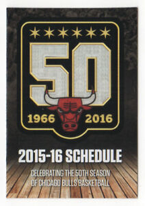 🏀 Chicago Bulls 2015/2016 NBA season pocket schedule 50th ANNIVERSARY Bud Light