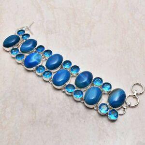Botswana Agate Blue Topaz Gemstone Handmade Big Bracelet Jewelry 64 Gms LBB 5771