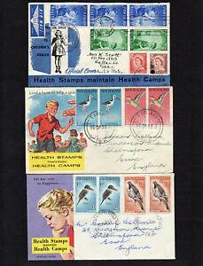 NEW ZEALAND - 1958 to 60 - HEALTH STAMPS - 3 FIRST DAY COVERS - TIRAU & PUTARURU